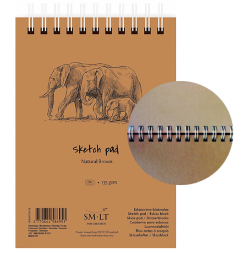Крафтовый скетчбук на пружине Sketch pad Natural Brown, формат А5, 80 листов, 135 г/м