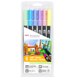 Набор брашпенов Tombow ABT Dual Brush Pen 6 Pastel (пастельные)